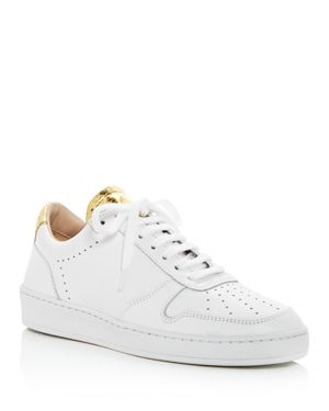 ZESPÀ Women'S Dessus Perforated & Snake Embossed Leather Lace Up Sneakers in White / Gold