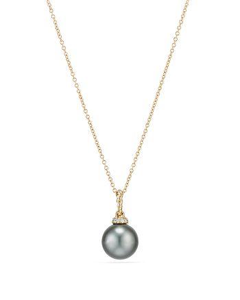 David Yurman - Solari Pendant Necklace with Cultured Tahitian Gray Pearl & Diamonds in 18K Gold