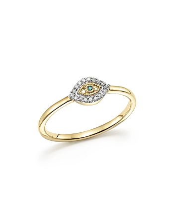 Adina Reyter - 14K Yellow Gold Super Tiny Pavé White & Blue Diamond Evil Eye Ring