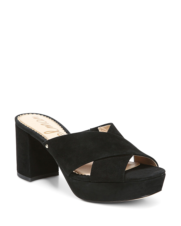 Sam Edelman Women's Jayne Suede Platform High-Heel Slide Sandals AEyIOdei9u
