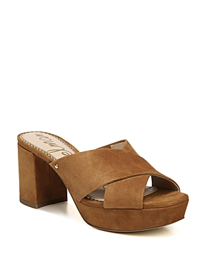 Sam Edelman  WOMEN'S JAYNE SUEDE PLATFORM HIGH-HEEL SLIDE SANDALS