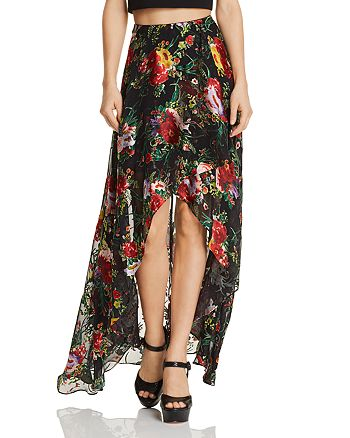 Alice and Olivia - Kirstie Floral Burnout High/Low Maxi Skirt