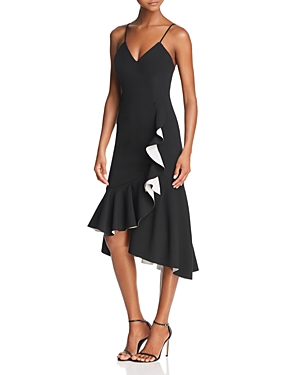 Bardot Asymmetric Ruffled Midi Dress