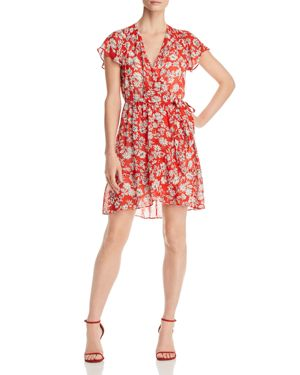 RED HAUTE PRINTED WRAP DRESS