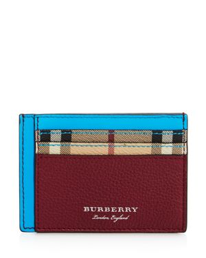 BURBERRY SANDON NEON ACCENT LEATHER CARD CASE