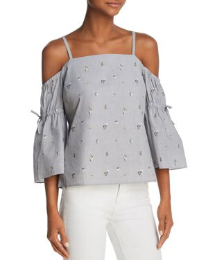 COOPER & ELLA FAY COLD-SHOULDER BOW-SLEEVE TOP