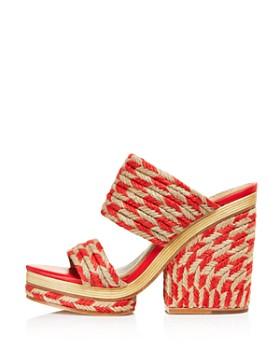 Tory Burch - Women's Lola Woven Jute & Leather High-Heel Slide Sandals