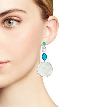 IPPOLITA - Sterling Silver Wonderland Mother-of-Pearl & Clear Quartz Doublet Long Drop Earrings in Bermuda