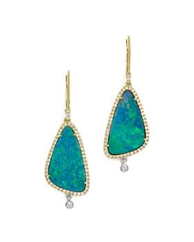 Meira T - 14K White & Yellow Gold Opal & Diamond Drop Earrings