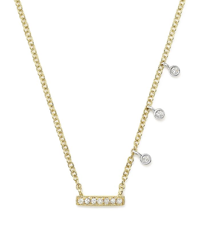 "Meira T - 14K White & Yellow Gold Diamond Bar & Bezel Charm Necklace, 16"""