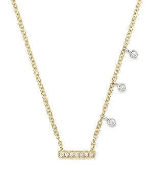 Meira T 14K White & Yellow Gold Diamond Bar & Bezel Charm Necklace, 16