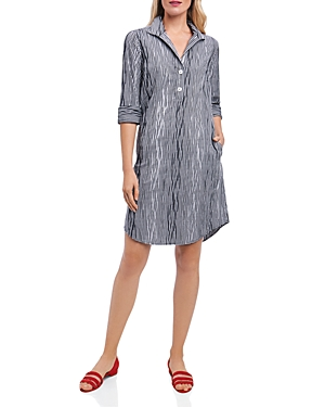Foxcroft Crinkled Gingham Shirt Dress