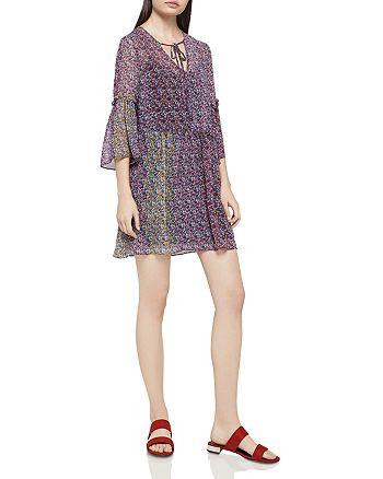 BCBGeneration - Color-Block Floral Print Drop-Waist Dress