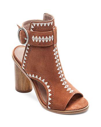 Bernardo - Women's Embroidered Suede Peep Toe Block Heel Booties