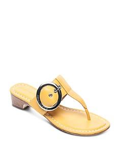 Bernardo - Women's Leather Buckle Block Heel Thong Sandals