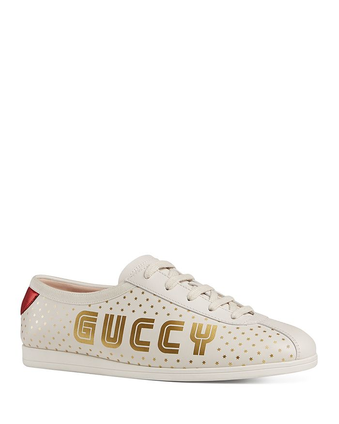 Gucci - Women's Falacer Leather Print Low Top Lace Up Sneakers