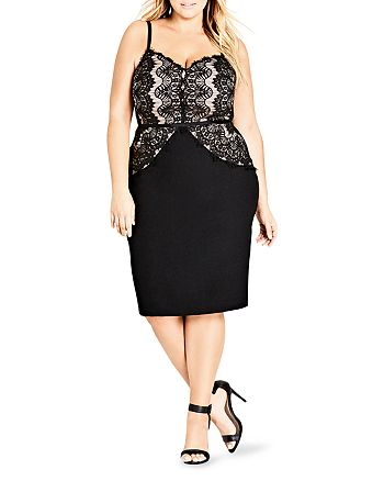 City Chic Plus - Spell It Out Lace Paneled Sheath Dress
