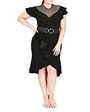 City Chic Valerie Sheer Sweetheart Belted Dress
