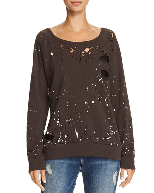 CHASER - Distressed Splatter Print Sweatshirt