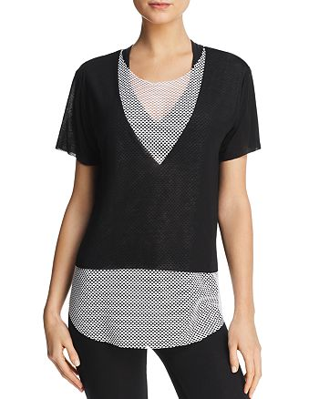 KORAL - Layered-Look Mesh & Jersey Tee
