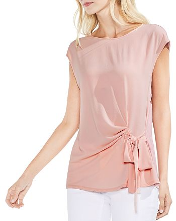 VINCE CAMUTO - Tie Waist Mixed Media Top