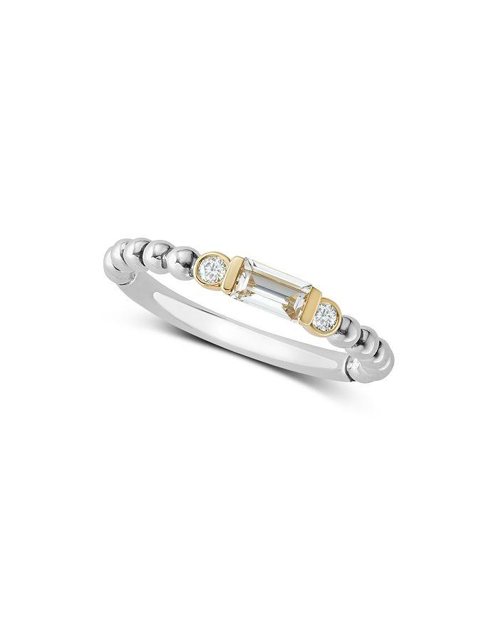 LAGOS - 18K Gold & Sterling Silver White Topaz & Diamond Stacking Ring