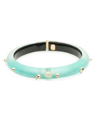 Alexis Bittar Golden Studded Hinge Bracelet, Mint Green