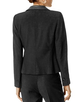 KAREN MILLEN - Faux-Leather Trim Boxy Blazer