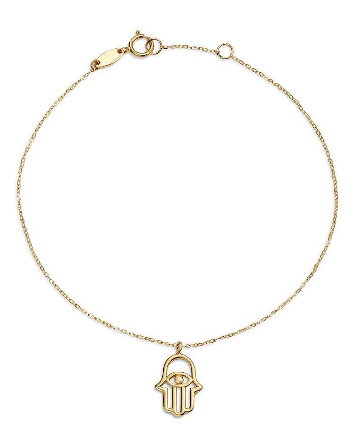 Moon & Meadow - Hamsa Hand Charm Bracelet in 14K Yellow Gold - 100% Exclusive