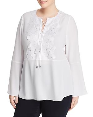 New Michael Michael Kors Plus Floral Bib Lace-Up Top, White