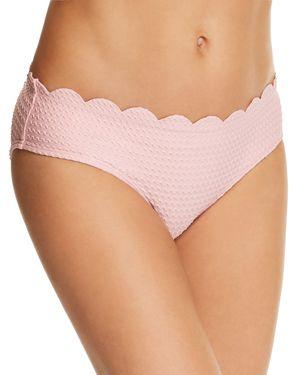 Kate Spade New York Marina Piccola Textured Scallop Hipster Bikini Bottom, Aloha Pink