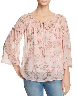 STATUS BY CHENAULT FLORAL RUFFLE TRIM PEASANT BLOUSE