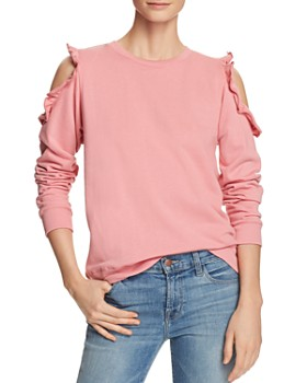 Alison Andrews - Ruffle Cold-Shoulder Sweatshirt