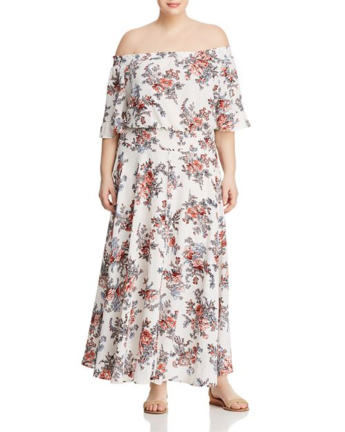 GLAMOROUS CURVY - Off-the-Shoulder Floral Maxi Dress