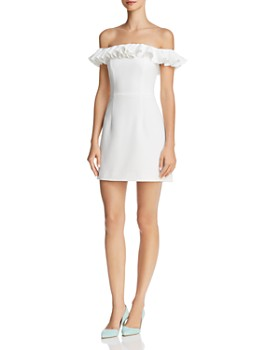 FRENCH CONNECTION - Whisper Light Ruffled Off-the-Shoulder Dress