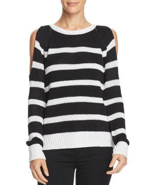 Aqua Striped Open-Back Cold-Shoulder Sweater - 100% Exclusive