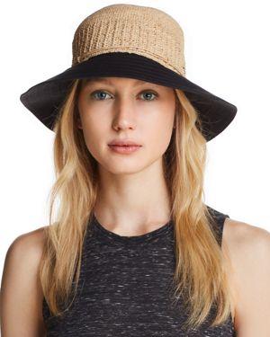 Cotton Brim Raffia Hat - Brown, Natural/Black