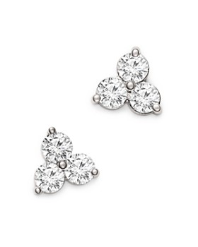 Bloomingdale's - Diamond Three Stone Stud Earrings in 14K White Gold, 1.50 ct. t.w. - 100% Exclusive