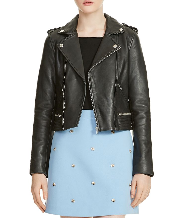 Maje - Basalt Leather Motorcycle Jacket