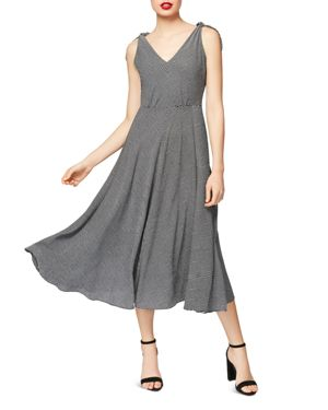 BETSEY JOHNSON TIE-STRAP FIT & FLARE MAXI DRESS