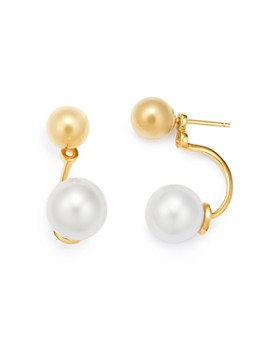 MATEO - 14K Yellow Gold Cultured Freshwater Pearl & Ball Stud Ear Jackets