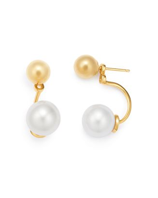 14 K Yellow Gold Cultured Freshwater Pearl & Ball Stud Ear Jackets by Mateo
