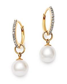 MATEO - 14K Yellow Gold Diamond & Cultured Freshwater Pearl Huggie Drop Earrings