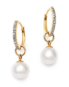 MATEO - 14K Yellow Gold Diamond & Cultured Freshwater Pearl Huggie Drop Earrings