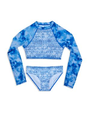 Gossip Girl Girls' Jean's Addiction Rash Guard Swimsuit Set - Big Kid 2862083