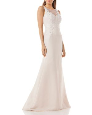 Carmen Marc Valvo Infusion Embellished Mermaid Gown