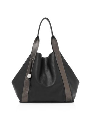 BAILY REVERSIBLE CALFSKIN LEATHER TOTE - BLACK