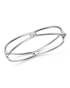Roberto Coin 18K White Gold Classic Parisienne Diamond Bangle Bracelet - 100% Exclusive