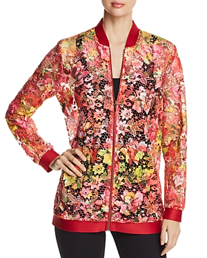 T Tahari Gale Floral-Lace Zip Jacket