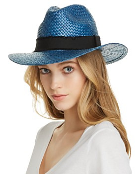 AQUA - Ribbon-Trim Straw Fedora - 100% Exclusive